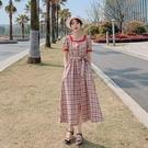 VK精品服飾 韓國風復古格紋收腰顯瘦氣質方領小香風短袖洋裝