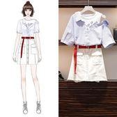 工廠批發不退換中大尺碼XL-5XL襯衫裙裝套裝33492夏女裝胖妹妹牛仔半身裙 印花條紋襯衫兩件套