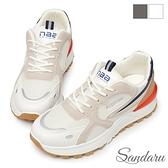 復古鞋 韓國潮流雙材質拼接休閒鞋-白