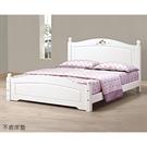 【森可家居】柏妮斯5尺白色彩繪檜木雙人床 8JX364-2 床架 鄉村風