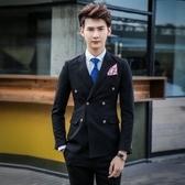 西裝套裝含西裝外套+西裝褲(三件套)-韓版帥氣合身雙扣男西服4色73hc55【時尚巴黎】