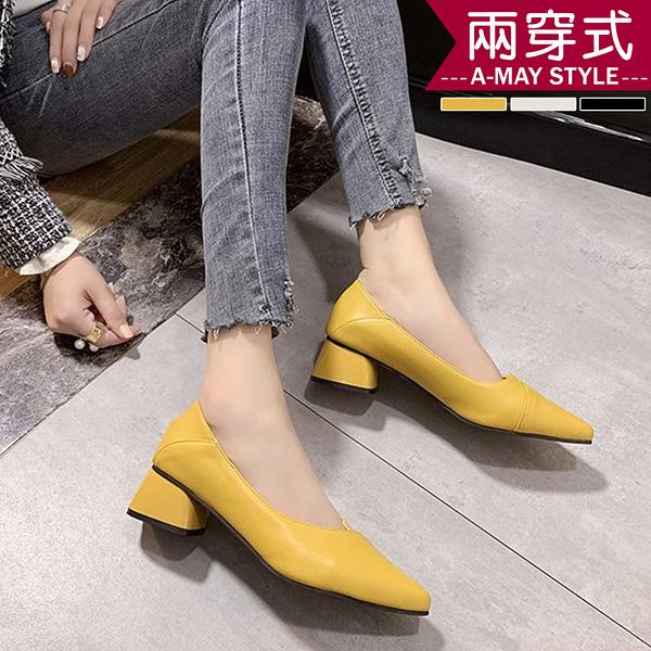 婚鞋-優雅女伶兩穿粗中跟包鞋