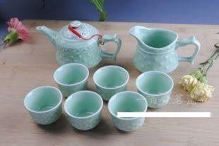 龍泉青瓷 浮雕茶具套裝
