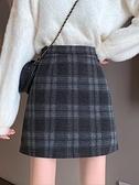 毛呢裙 毛呢格子半身裙秋冬女裝新款中長款高腰顯瘦包臀裙潮外穿裙子 優拓