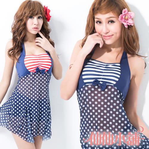 二件式泳裝 比基尼泳衣 仙仙小舖 QE515 深藍/藍紅 性感睡衣 角色扮演