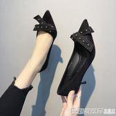 鞋子女2019新款女鞋尖頭絨面高跟鞋百搭蝴蝶結鉚釘淺口細跟單鞋女 印象家品旗艦店