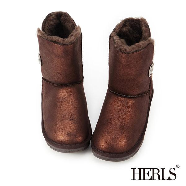 雪靴-HERLS 霧面金屬圓釦毛絨雪靴-古銅色