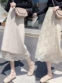 針織半身長裙 2021秋冬針織半身裙女春中長款高腰過膝遮胯裙子顯瘦蕾絲a字長裙 寶貝計畫