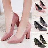正韓尖頭鞋絨面女鞋淺口單鞋粗跟高跟鞋女中跟工作鞋