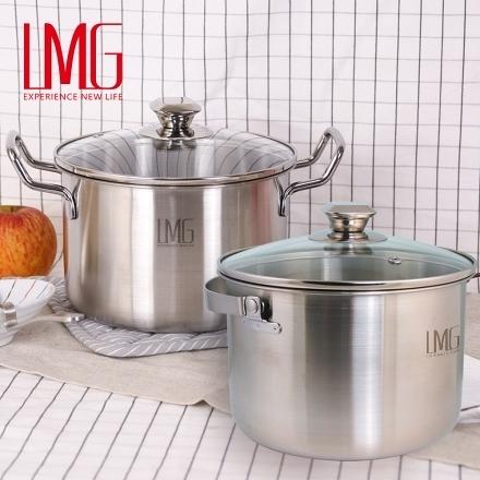 【周末激殺】【LMG】304不鏽鋼吉品深型湯鍋-雙鍋組合(雙耳+提把)