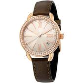 NATURALLY JOJO 魅典晶鑽 皮革腕錶咖啡34mm