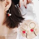 耳環。AngelNaNa 韓 時尚 小愛心 滴油 流蘇 耳線 女耳釘 (SRA0026)
