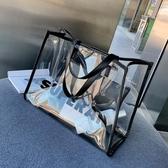 【免運】子母包 夏季單肩大包包女2019新款潮韓版百搭透明包包子母包大容量手提包