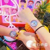 手錶-可愛創意夏季百搭休閑男女軟妹趣味透明手表日系黑白情侶學生腕表-奇幻樂園