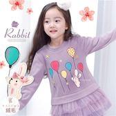金星彩色汽球兔下擺層次雪紡小洋裝(厚棉,內絨毛)禦寒保暖(260581)★水娃娃時尚童裝★