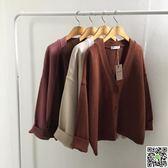秋季韓版短款長袖毛衣外套女寬鬆百搭純色V領針織衫學生上衣開衫 一件免運