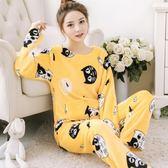 睡衣 秋冬珊瑚絨女加厚長袖法蘭絨家居服套裝韓版甜美可愛兩件式-BB奇趣屋