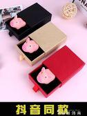 抖音同款尖叫小豬捏捏叫古拙發泄粉色豬惡搞送女友禮物抽拉禮盒  薔薇時尚