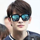 現貨-韓國ulzzang原宿高品質復古時尚方框太陽眼鏡炫彩膜反光多色彩膜裝飾墨鏡男女 潮流黑超太