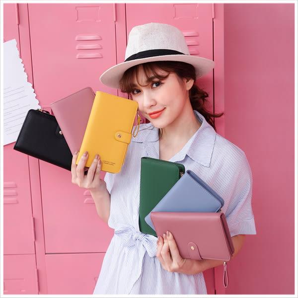 皮夾-韓版簡約多功能手機護照包/皮夾-共6色-A08080807-天藍小舖
