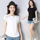 韓版鏤空修身短袖圓領上衣 L-3XL(現 預 白色 / 黑色)
