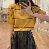 34條紋冰絲針織t恤女夏季新款韓版溫柔風寬松薄款百搭休閑半