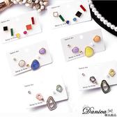 現貨 韓國氣質簡約百搭糖心幾何不對稱珍珠水鑽超值六件組耳環 S93317 批發價 Danica 韓系飾品