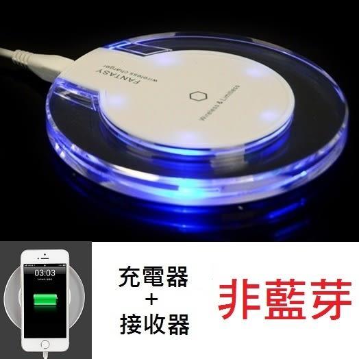 FANTASY 無線充電板 器 座 + 無線 接收器 USB 線 Iphone 6s S6 三星 行動電源 【RI341】