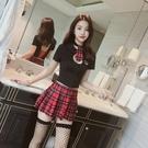 性感內衣透視紅格子緊身學生裝清純可愛制服秘書公主夜店短裙套裝