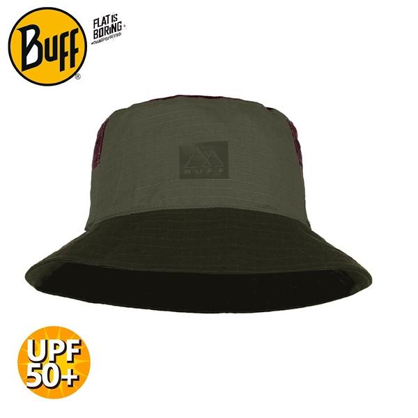 【BUFF 西班牙 太陽漁夫帽《墨綠卡其》】125445/防曬帽/遮陽帽/登山/露營