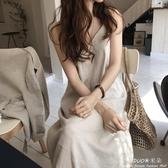夏韓國chic新款棉麻吊帶裙設計感寬鬆連身裙洋裝過膝長款打底裙女