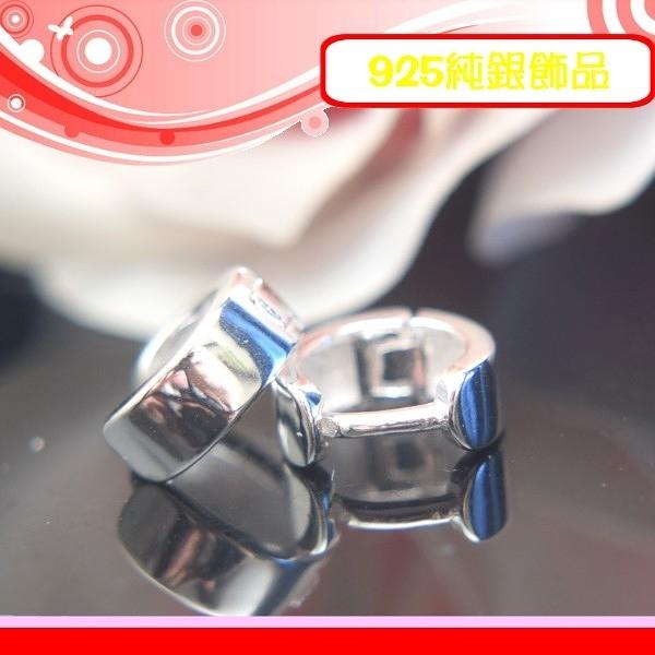 銀鏡DIY S925純銀生日情人禮~亮面光澤素面8mm圈圈耳環/耳扣/耳骨環-3.5mm厚款/不過敏/不褪色