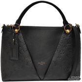 【Louis Vuitton 路易威登】M44421  V Tote系列MM Monogram花紋牛皮手提/斜背兩用包(黑色)