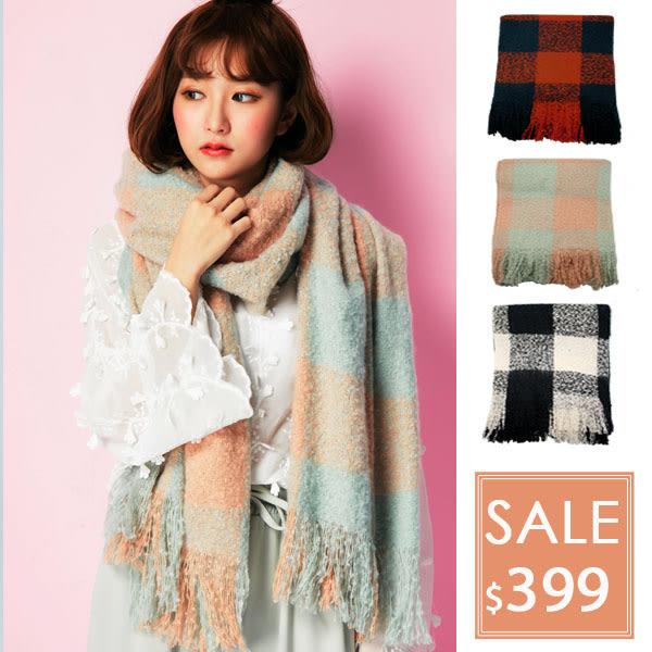 OT SHOP圍巾‧柔軟好摸禦寒格紋仿羊絨混膚圍巾造型流蘇‧橘紅深藍淺粉淺綠白黑現貨D1808