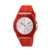 【Folli Follie】Rainbow Time透晶玫紅優雅時尚橡膠腕錶-淨透紅/WF19P009ZDR_RE/台灣總代理享兩年保固