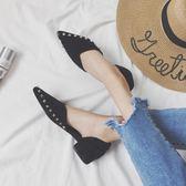 春季單鞋女2018新款韓版單鞋百搭淑女學生平底淺口粗跟絨面尖頭鞋  良品鋪子