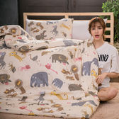 #B180#活性印染精梳純棉5x6.2尺雙人床包被套四件組-台灣製(含枕套)[SN]