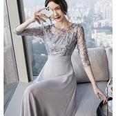 刺繡亮片微透視五分袖小禮服宴會洋裝[99165-QF]美之札
