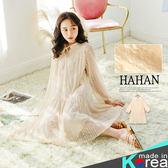 【HC4842】唯美鏤空蕾絲綁繩荷葉裙襬洋裝