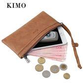 KIMO女士錢包 女長款歐美牛皮拉鍊簡約薄款手拿包真皮錢包男皮夾