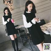 2018秋冬季韓版新款大碼修身女裝加厚毛呢洋裝學生甜美打底裙潮