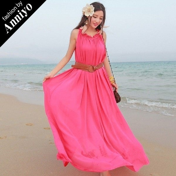 Anniyo安妞‧波西米亞木耳領無袖大裙擺寬鬆海邊度假純色雪紡長裙沙灘裙長洋裝 玫紅色