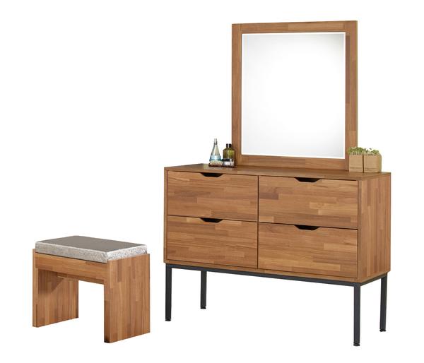 【森可家居】亞瑟3.5尺柚木集層斗櫃鏡台(含椅) 7JF023-3 梳化妝台 衣物收納櫃 木紋質感 北歐工業風