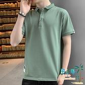 短袖Polo衫 夏季短袖t恤男Polo衫翻領半袖衫韓版潮流有帶領寬鬆體恤男裝【風之海】
