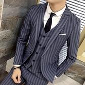 西裝套裝含西裝外套+西裝褲(三件套)-復古撞色線條造型面試男西服2色73hc35[時尚巴黎]