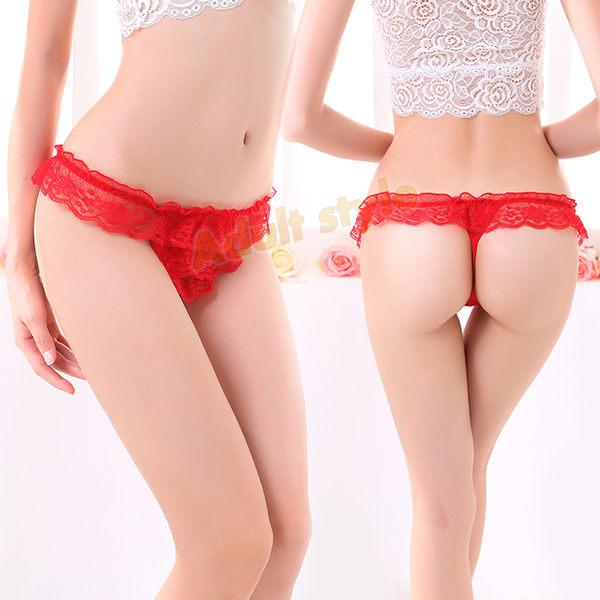 情趣丁字褲 少女 低腰 內褲 純真迷戀(紅色)蕾絲花邊性感丁字褲 ※雙12隱密出貨※