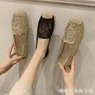 小香風漁夫鞋女平底新款潮草編亞麻一腳蹬鏤空透氣網面瑪麗鞋快速出貨