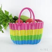 特大塑料編織收納菜籃子買菜購物籃手提藍寵物框化妝品沐浴洗浴筐xy2468『東京潮流』