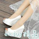 坡跟魚嘴涼鞋女12cm超高跟鞋厚底防水臺夏季百搭內增高女式單鞋潮  enjoy精品
