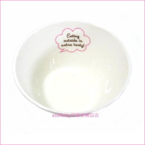 asdfkitty可愛家☆日本金正陶器 KITTY野餐-陶瓷碗/中碗/飯碗/點心碗-30905-可微波-日本製